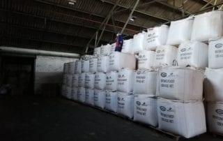 Silo bags being stored in warehouse