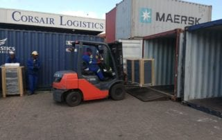 Forklift driver loading container