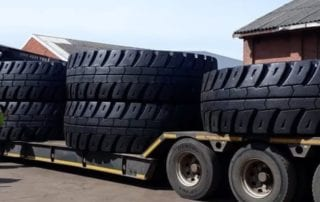 Abnormal truck loaded with oversized tyres