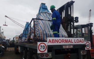 Abnormal load truck being loaded