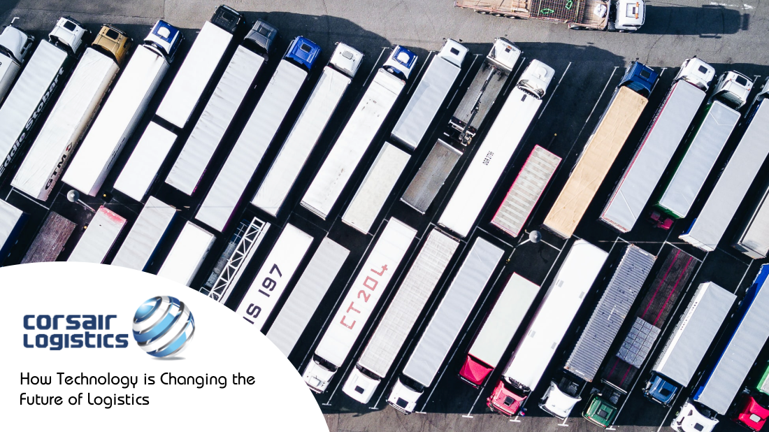 Aerial image of logistics trucks in car park